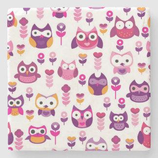 retro colourful owl bird pattern stone coaster