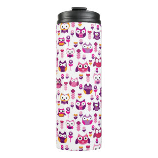 retro colourful owl bird pattern thermal tumbler