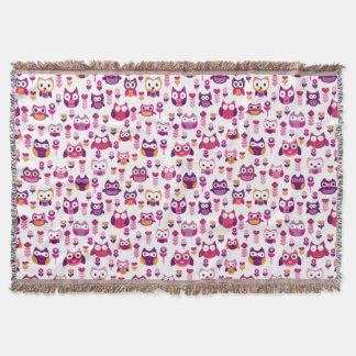retro colourful owl bird pattern throw blanket