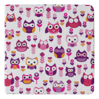retro colourful owl bird pattern trivet