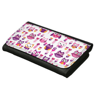 retro colourful owl bird pattern wallets