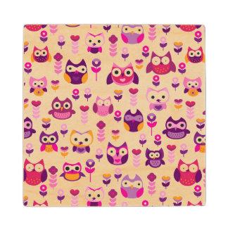 retro colourful owl bird pattern wood coaster