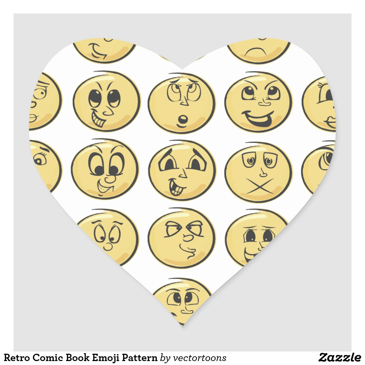 Coffee Emoji Retro Comic Book Emoji Pattern Heart Sticker Rcdaafbdfacdf