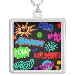 Retro Comic Call Outs Square Pendant Necklace
