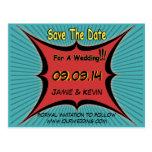 Retro Comic Pop Art Wedding Save The Date Postcard