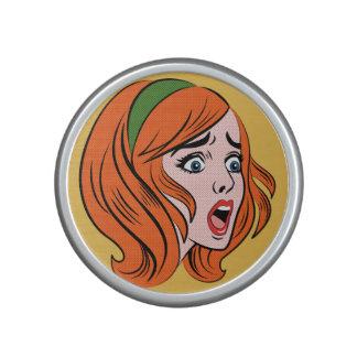 Retro comic style woman in a panic speaker