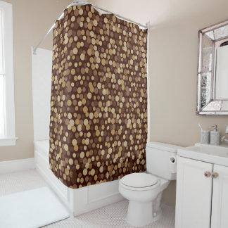 Retro Cool Brown Dots Bathroom Shower Curtain