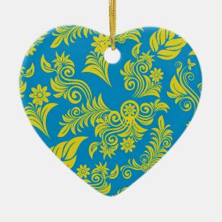 Retro cool floral pattern! ceramic heart decoration