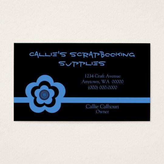 Retro Cool Flower Business Card, Light Blue Business Card