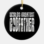 Retro Cool Godfathers : World's Greatest Godfather Round Ceramic Decoration