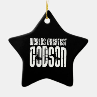 Retro Cool Godsons : World's Greatest Godson Christmas Ornament