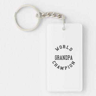 Retro Cool Grandpas Gifts World Champion Grandpa Single-Sided Rectangular Acrylic Keychain