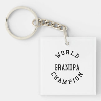 Retro Cool Grandpas Gifts World Champion Grandpa Double-Sided Square Acrylic Keychain