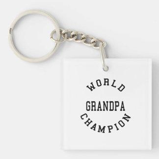 Retro Cool Grandpas Gifts World Champion Grandpa Single-Sided Square Acrylic Keychain