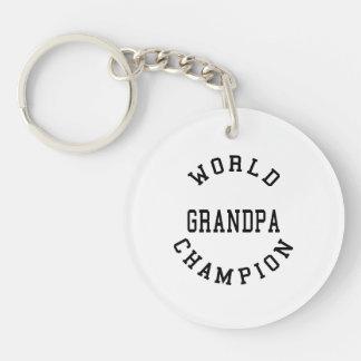 Retro Cool Grandpas Gifts World Champion Grandpa Double-Sided Round Acrylic Keychain