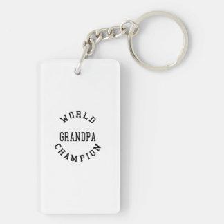 Retro Cool Grandpas Gifts World Champion Grandpa Double-Sided Rectangular Acrylic Keychain