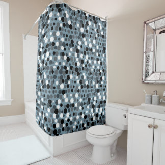 Retro Cool Gray Dots Bathroom Shower Curtain