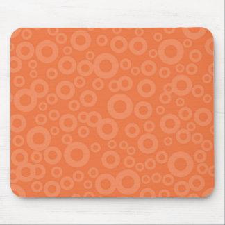 Retro Coral Orange Circles Pattern Mousepads