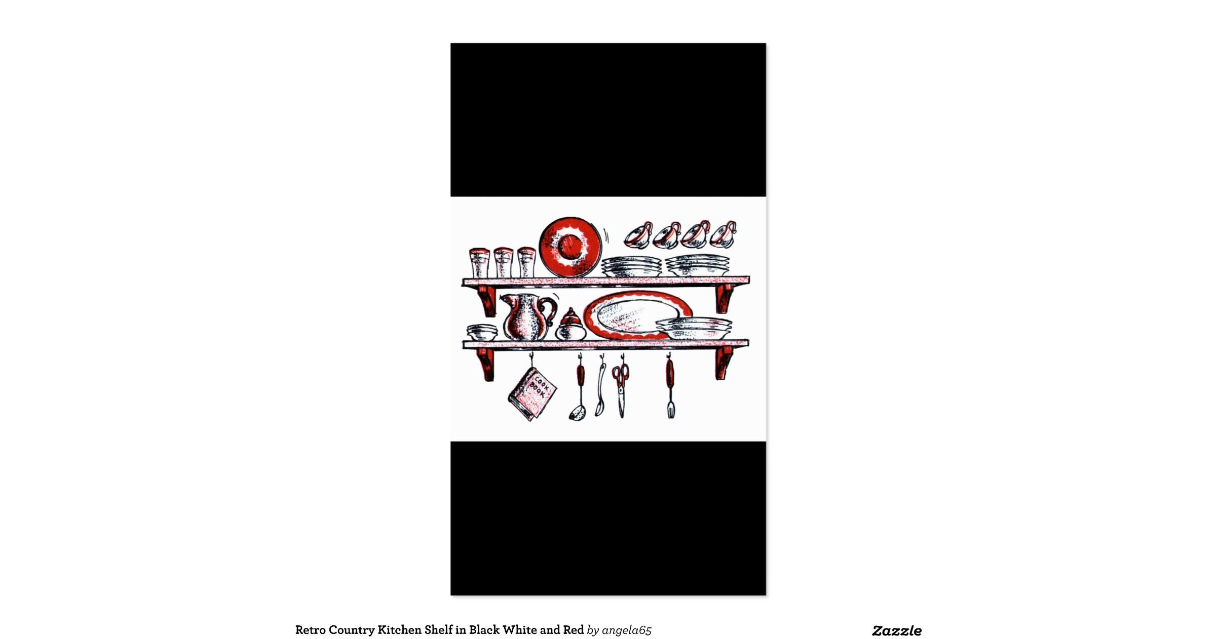 Retro Country Kitchen Shelf In Black White And Red Pack Of
