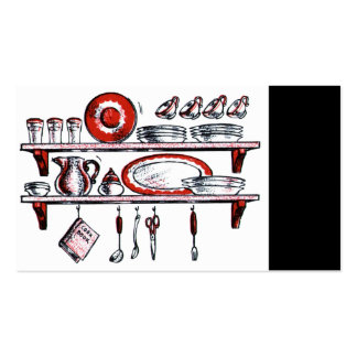 Retro Country Kitchen Shelf in Black White and Red Pack Of Standard Business Cards