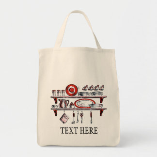 Retro Country Kitchen Shelf in Black White and Red Grocery Tote Bag