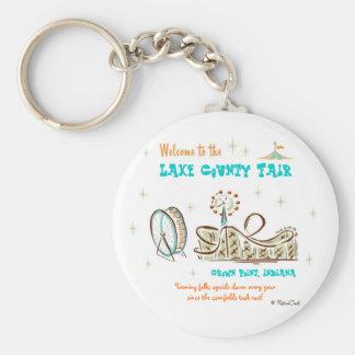 Retro 'County Fair' Basic Round Button Key Ring