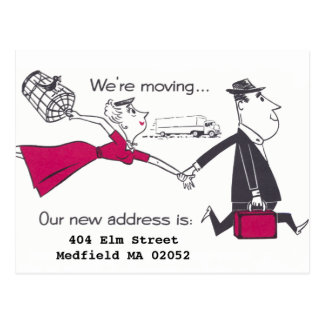 Retro Couple On the Move Change of Address Postcard