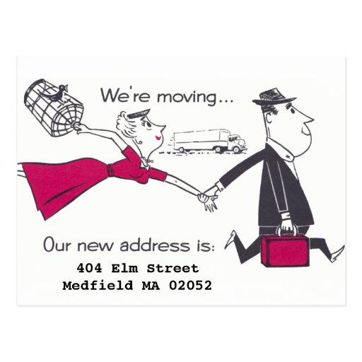Retro Couple On the Move Change of Address Post Cards