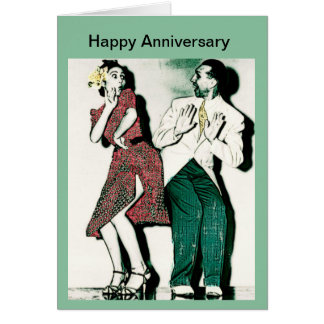 Retro Couple Rockabilly Happy Anniversary Card
