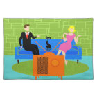 Retro Couple with Cat Cloth Placemat