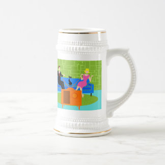 Retro Couple with Cat Stein Beer Steins