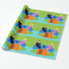 Retro Couple with Cat Wrapping Paper