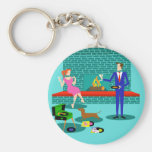 Retro Couple with Dog Button Keychain