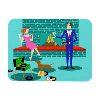 Retro Couple with Dog Flexible Magnet