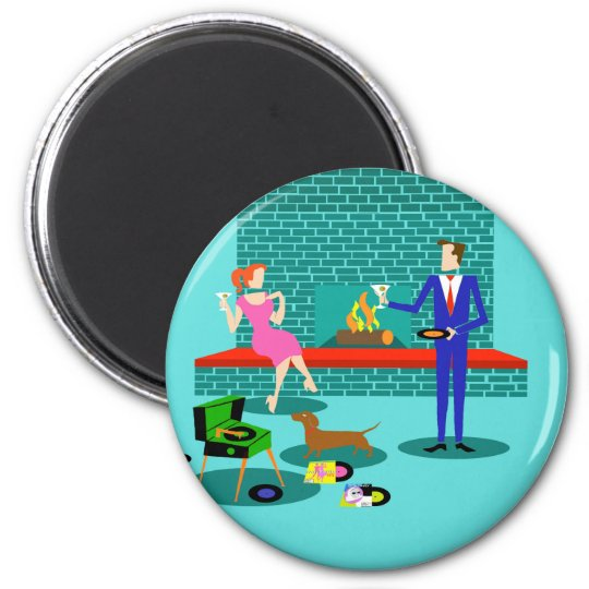 Retro Couple with Dog Round Magnet