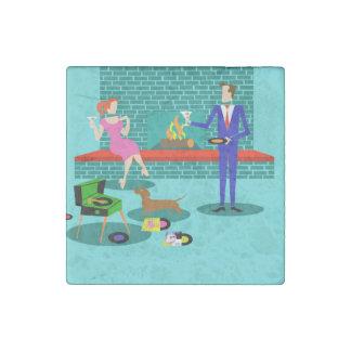 Retro Couple with Dog Stone Magnet