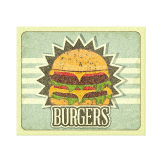 Retro Cover For Fast Food Menu Canvas Print