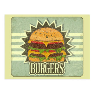 Retro Cover For Fast Food Menu Postcard