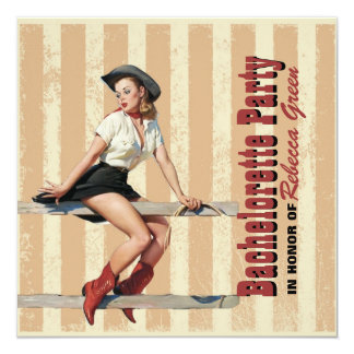retro cowgirl western country bachelorette party 13 cm x 13 cm square invitation card