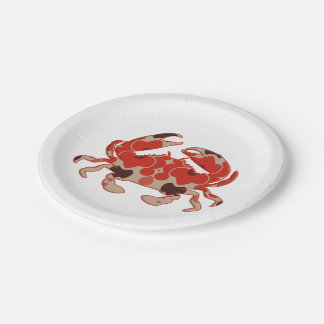Retro Crab Silhouette shape 7 Inch Paper Plate