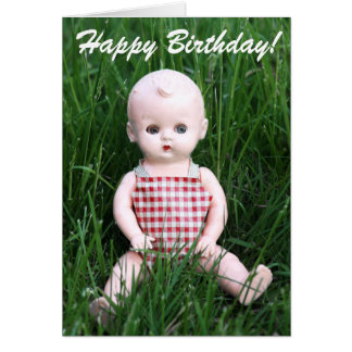 Retro Creepy Little Boy Antique Baby Doll Card