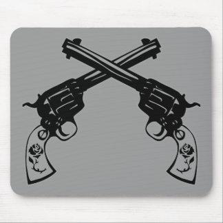 Retro Crossed Pistols Mouse Pads