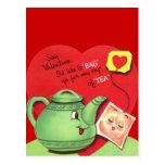 Retro Cup of Tea Valentine Postcard