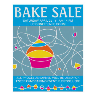retro CUPCAKE shapes bake sale poster