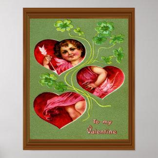 Retro Cupid Valentine Shamrock Heart Love Poster