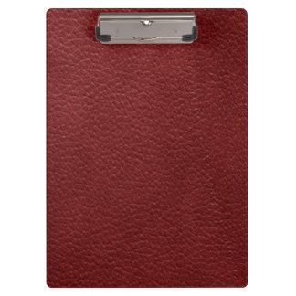 Retro Custom Dark Red Leather Clipboard