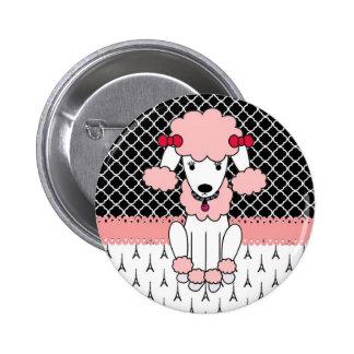 Retro custom girly diva pink Paris Poodle 6 Cm Round Badge