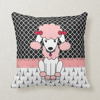 Retro custom girly diva pink Paris Poodle Cushion