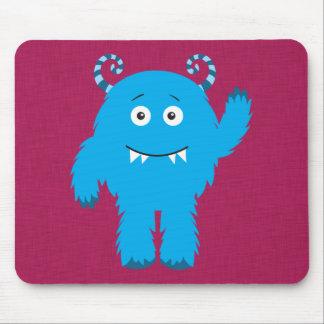 Retro Cute Blue Monster Mouse Pad
