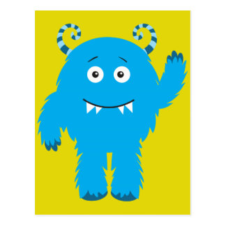 Retro Cute Blue Monster Postcard